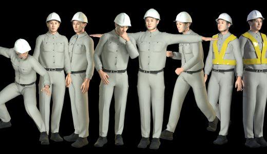 工場などの作業服ユニフォーム3D人物は地味に必要